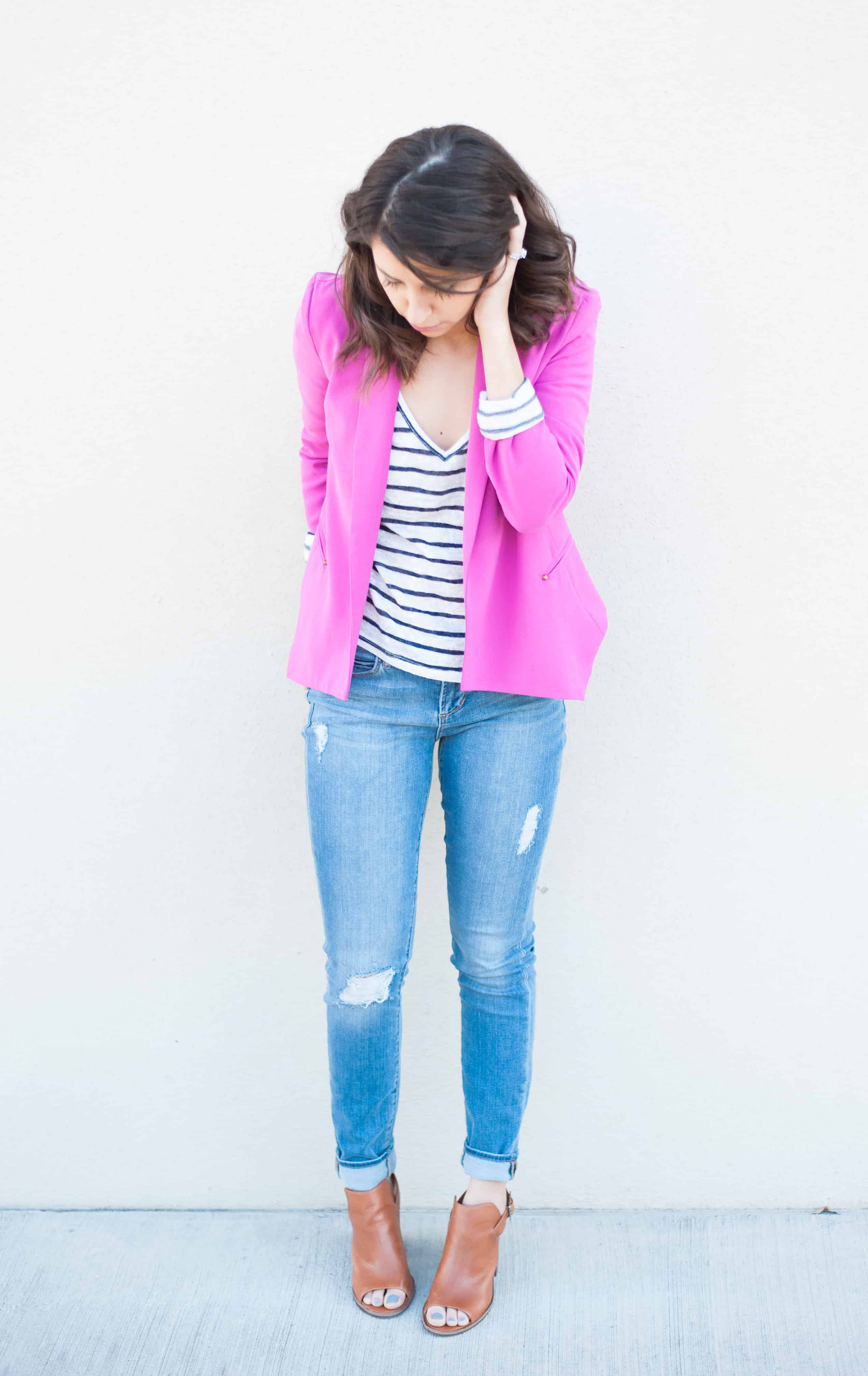 Dress Up Buttercup | Houston Fashion Blog - Dede Raad Pink Blazer Casual Look