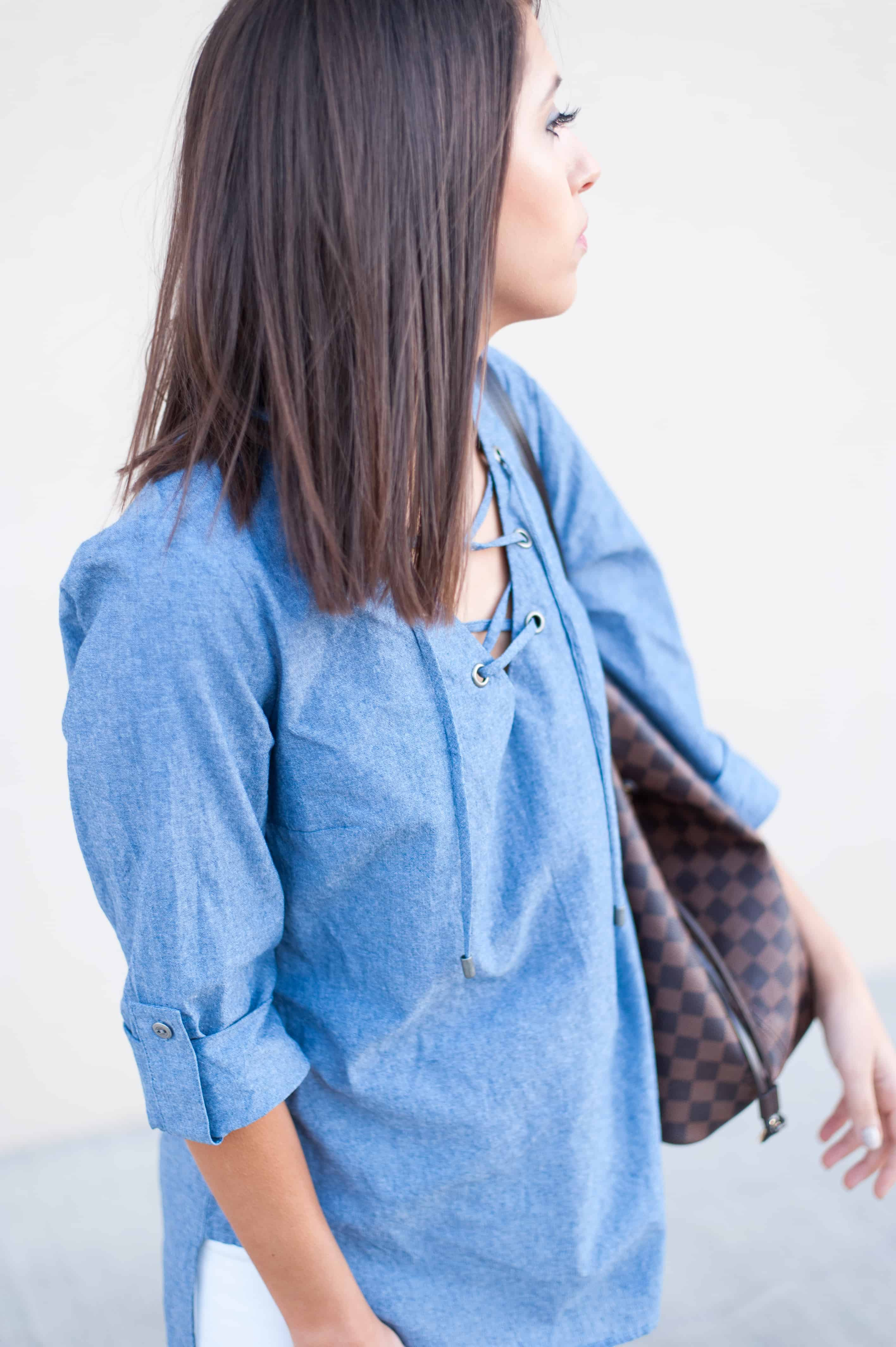 Dress Up Buttercup | Houston Fashion Blog - Dede Raad | Karen Kane Tied Up Chambray