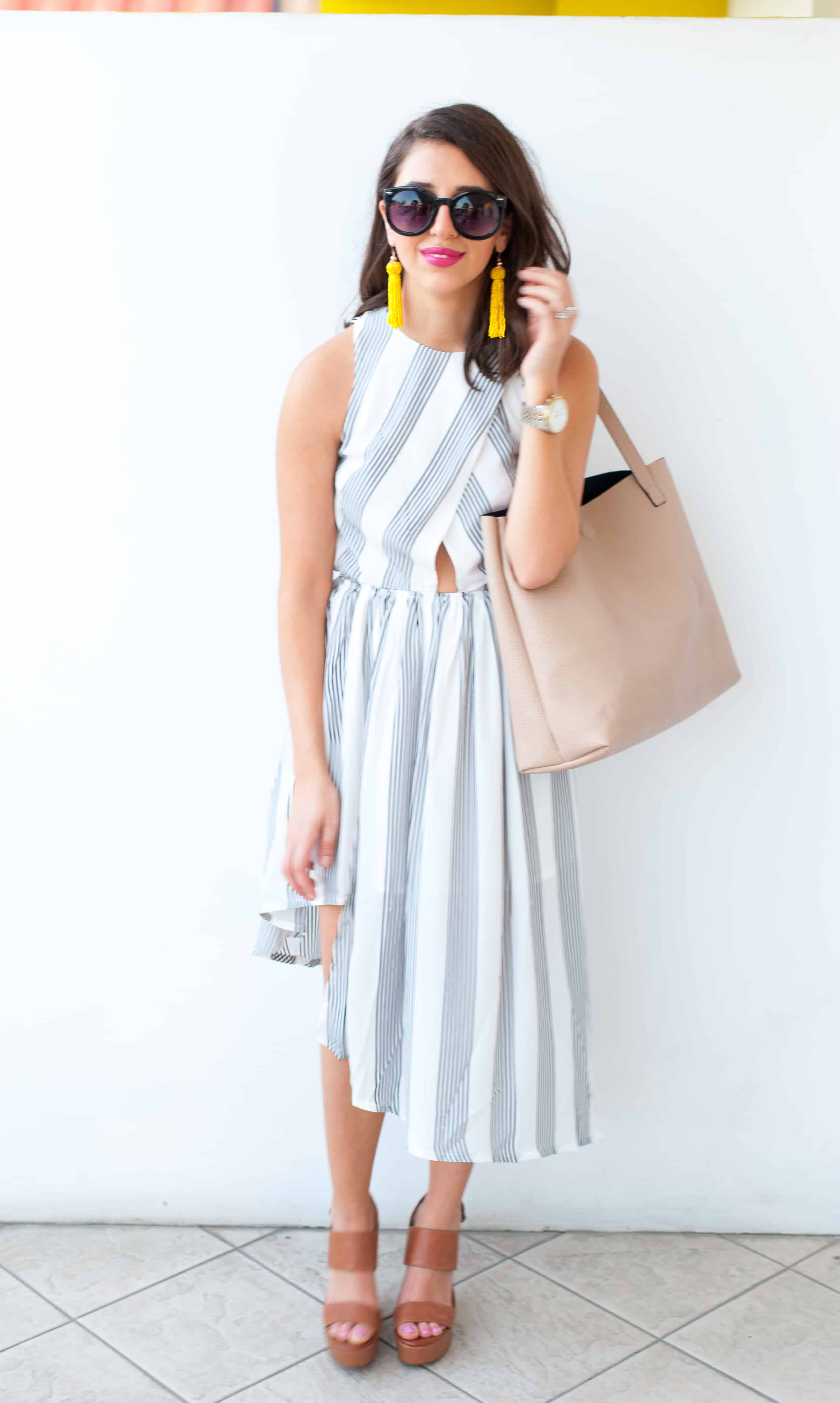 Dress Up Buttercup // A Houston-based fashion and inspiration blog developed to daily inspire your own personal style by Dede Raad | Elliatt 'Linear' Stripe Crepe Midi Dress