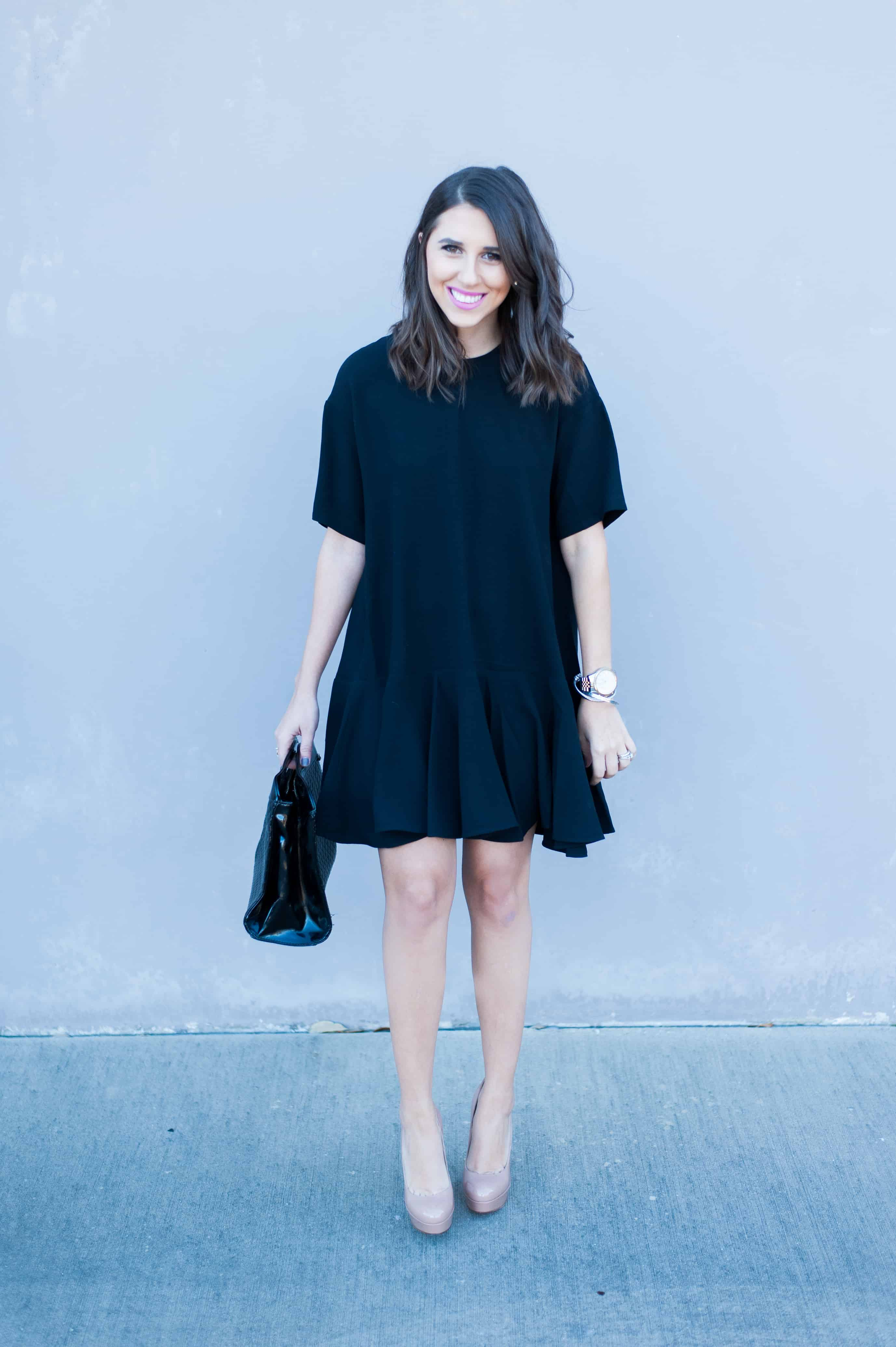 Dress Up Buttercup | Houston Fashion Blog - Dede Raad | French Connection Drop Waist Knit Dress