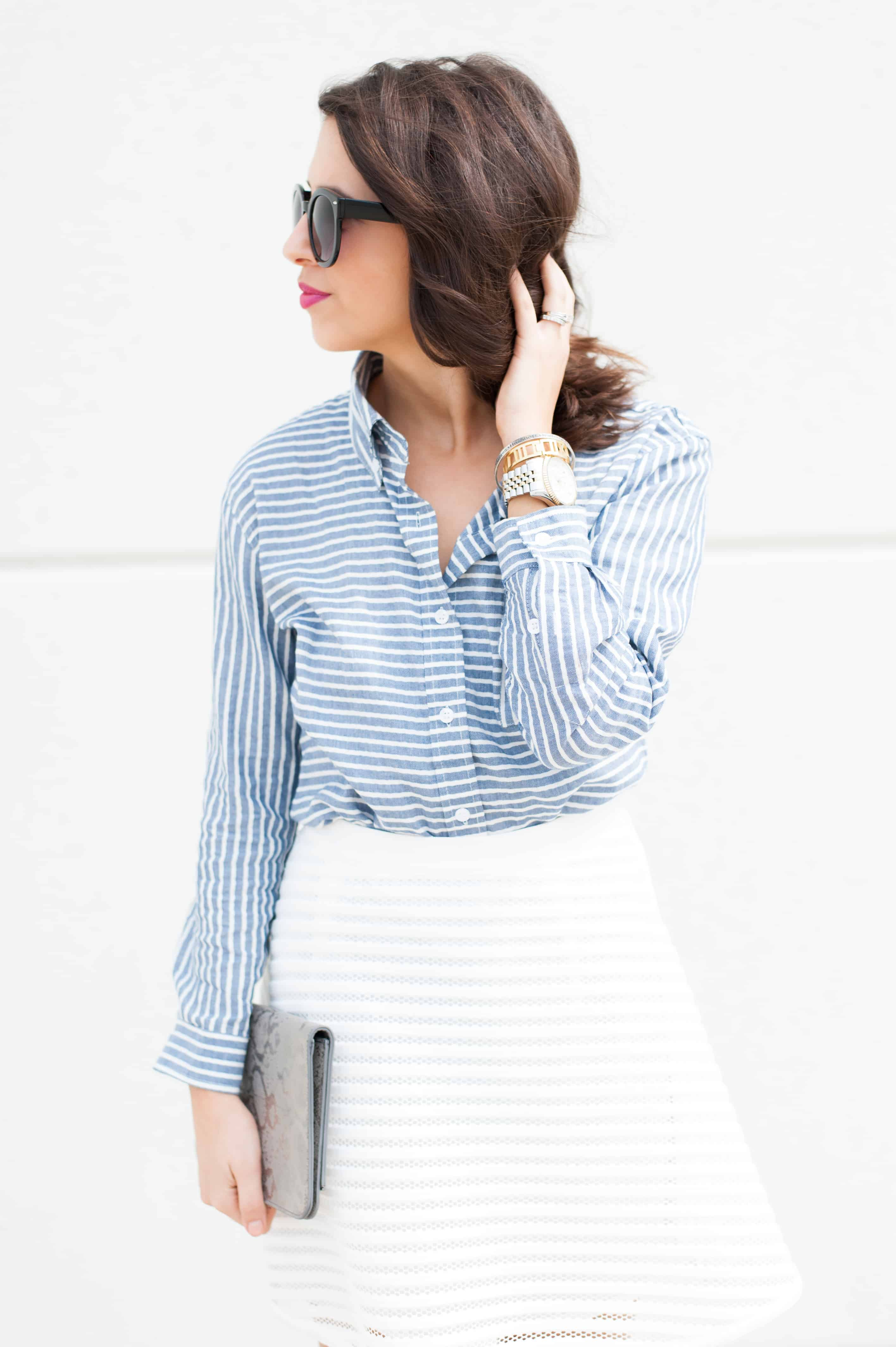Dress Up Buttercup | Houston Fashion Blog - Dede Raad Francescas Gingham Button Up