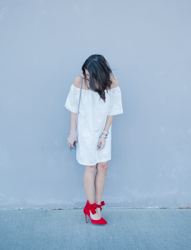 Dress Up Buttercup | Houston Fashion Blog - Dede Raad BB Dakota Off the Shoulder Cotton Dress White Red Bow High Heels