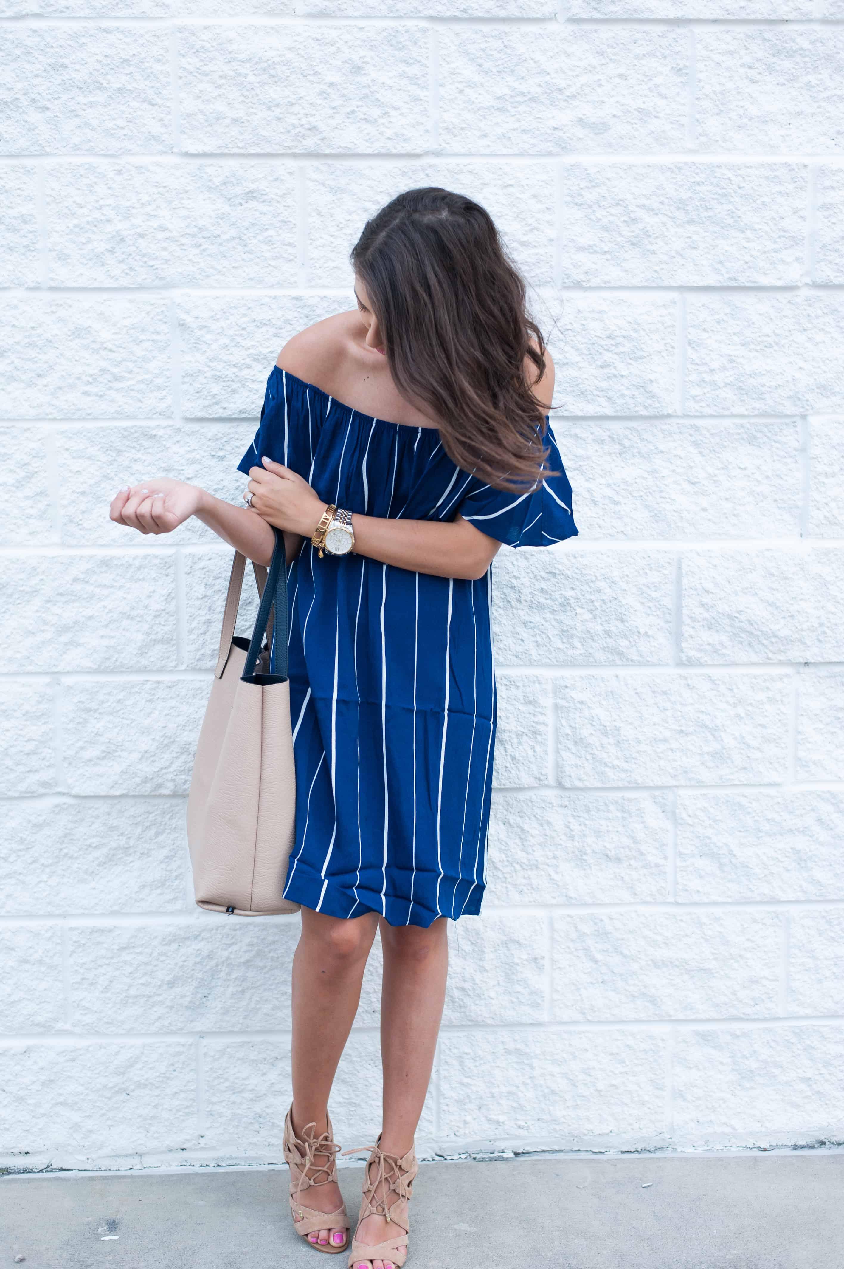 Dress Up Buttercup | Houston Fashion Blog - Dede Raad | Stripe + Off The Shoulder Dress