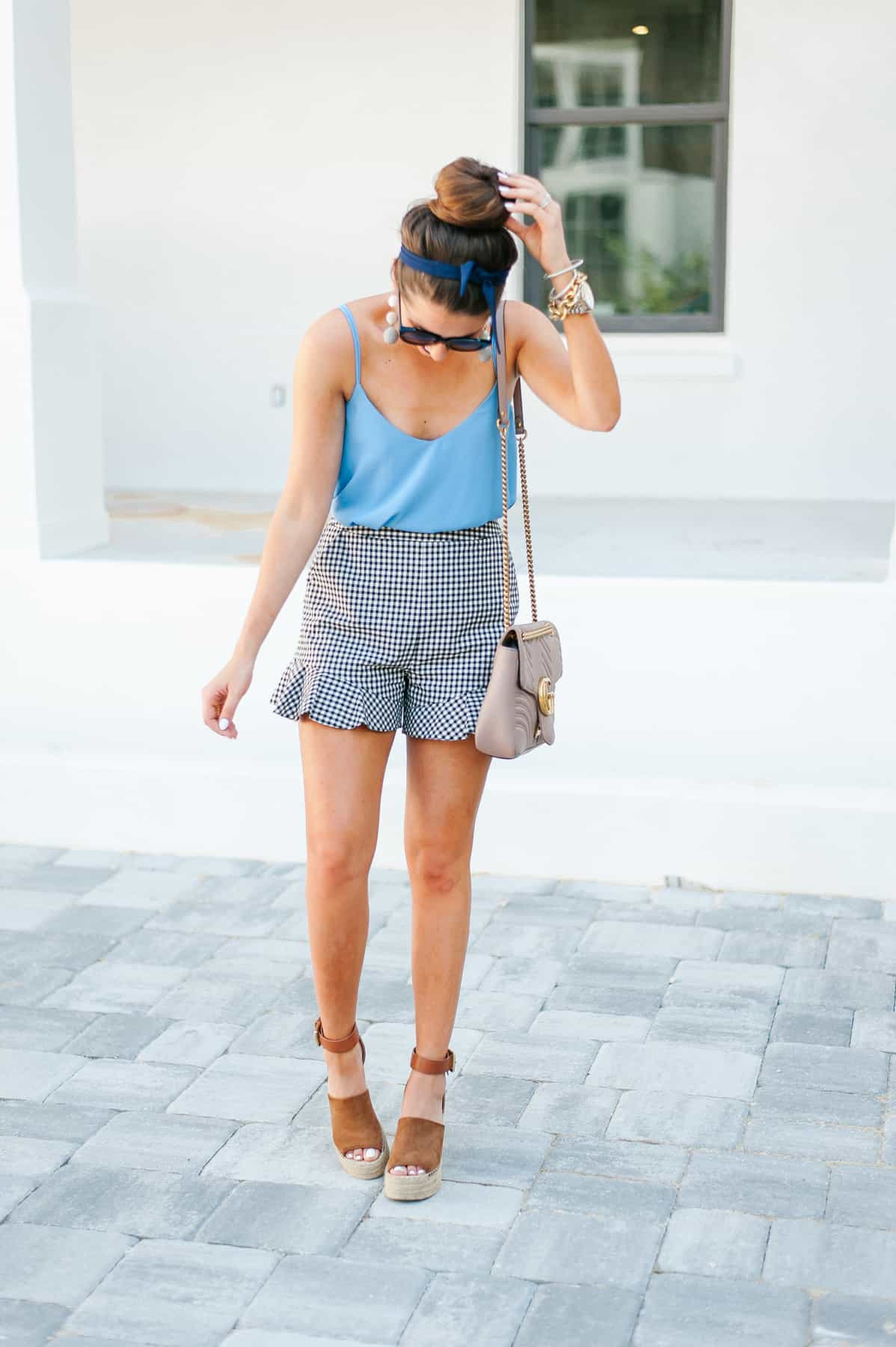 Dress up Buttercup, Dede Raad, Memorial day outfit, Gingham shorts, light blue tank, Houston blogger,