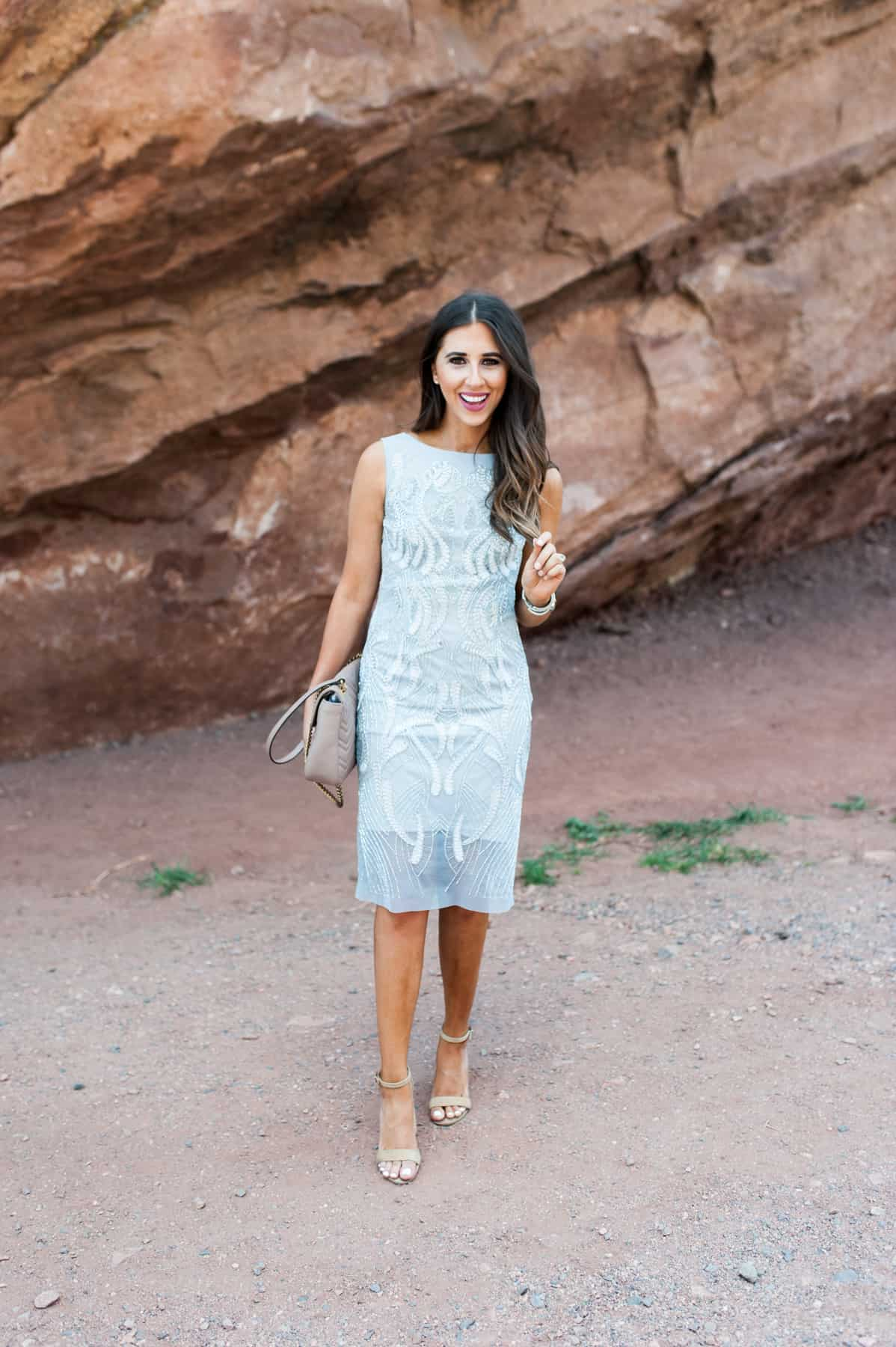 Wedding Guest in Red Rocks, adrianna-papell, sequins dress