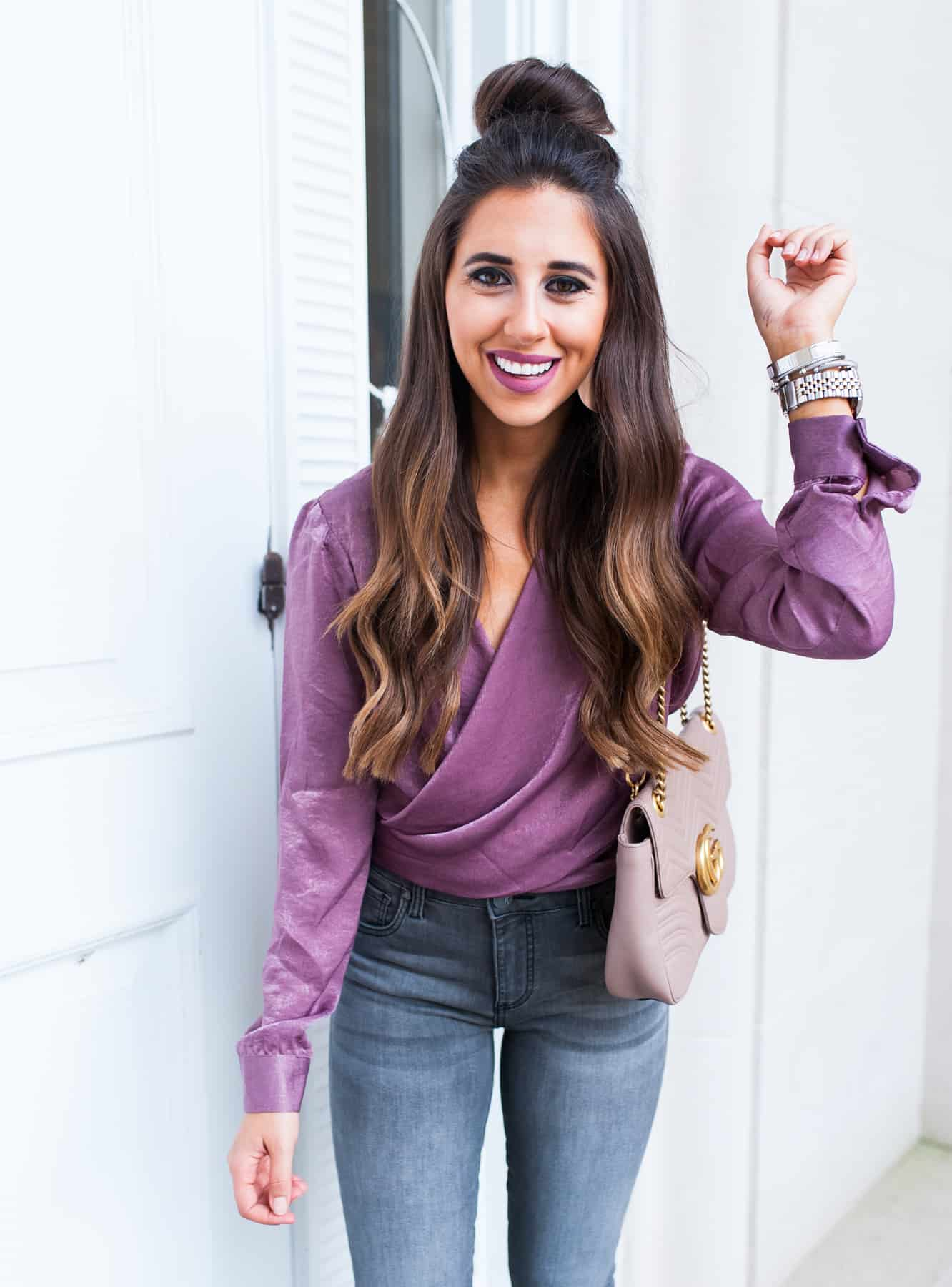 silk purple sateen top with grey jeans and leopard shoes , plum fall color