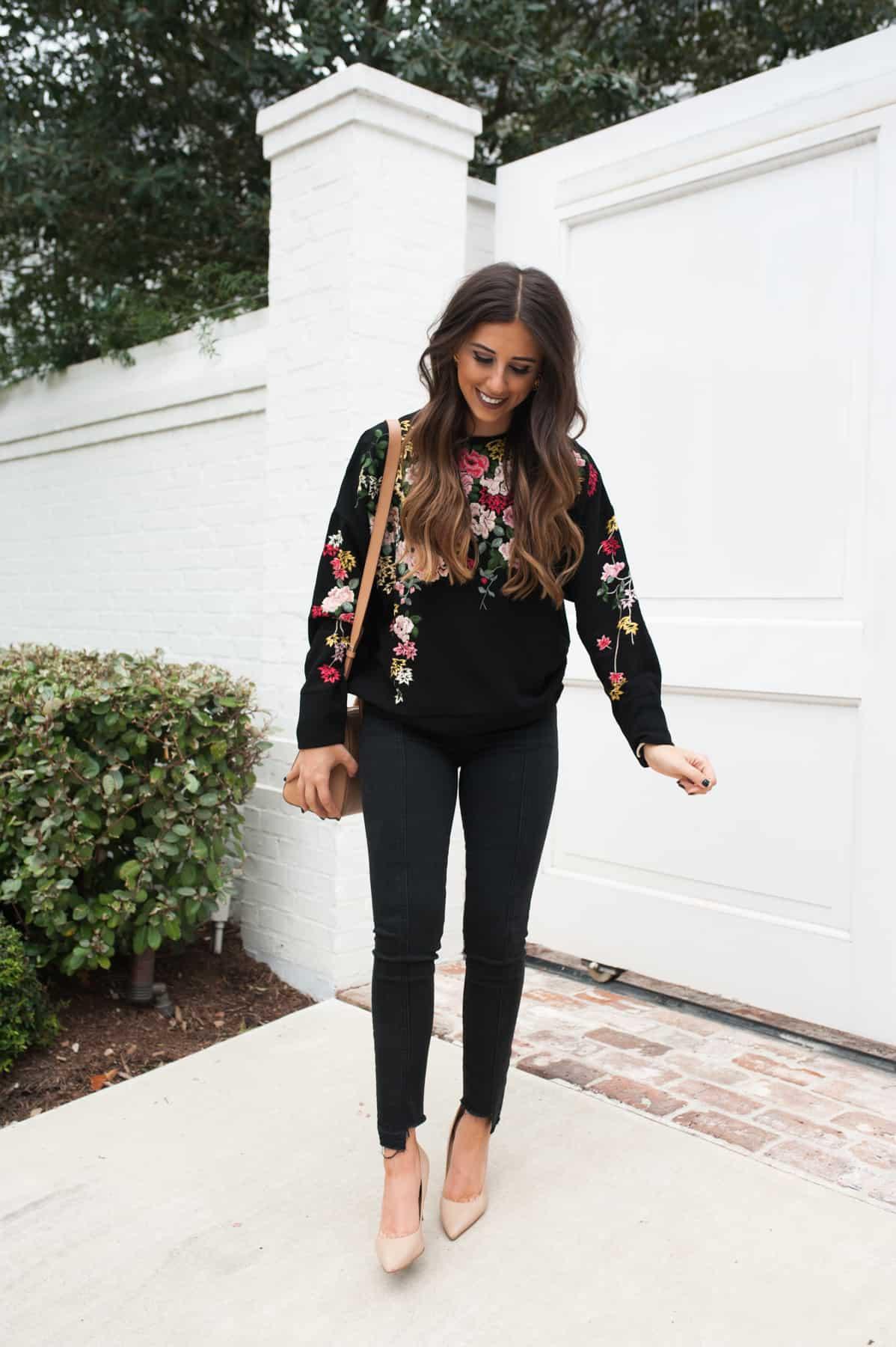 Embroidered Flower Sweatshirt   Dress Up Buttercup